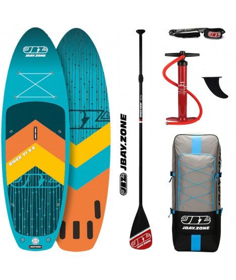 JBay.Zone SUP komplet 9.6 Y1 River Turquoise + veslo + tlačilka + nahrbtnik + leash