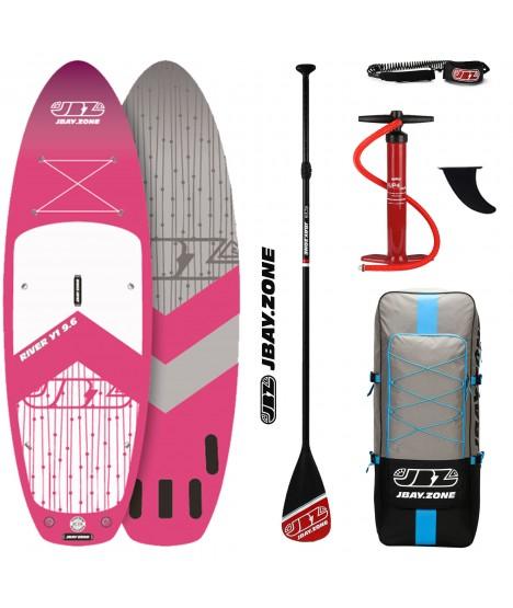 JBay.Zone SUP komplet 9.6 Y1 River Pink + veslo + tlačilka + nahrbtnik + leash